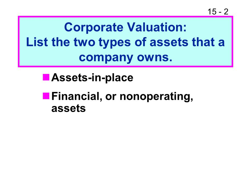 Corporate Valuation: List the two types of assets that a company owns.