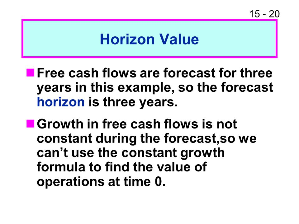 Horizon Value Free cash flows are forecast for three years in this example, so the forecast horizon is three years.