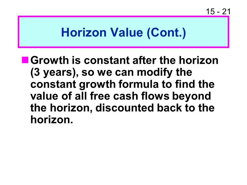 Horizon Value (Cont.)