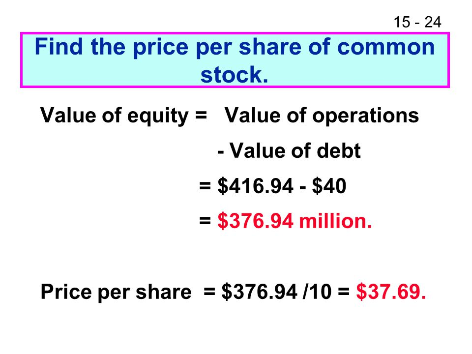 Find the price per share of common stock.
