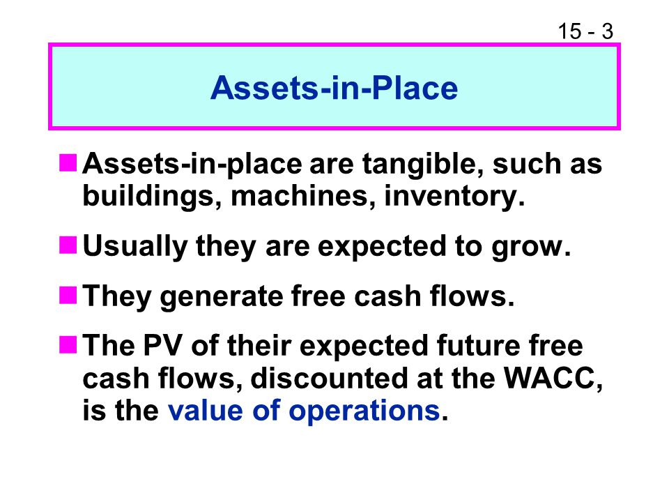 Assets-in-Place Assets-in-place are tangible, such as buildings, machines, inventory. Usually they are expected to grow.