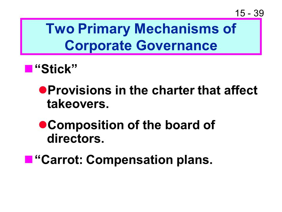 Two Primary Mechanisms of Corporate Governance