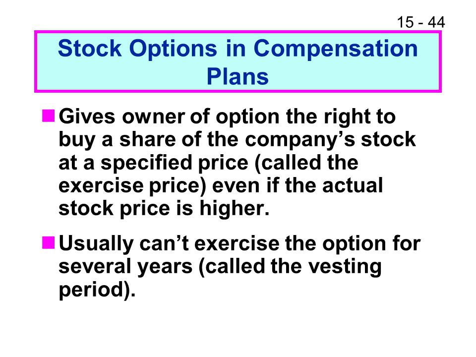 Stock Options in Compensation Plans
