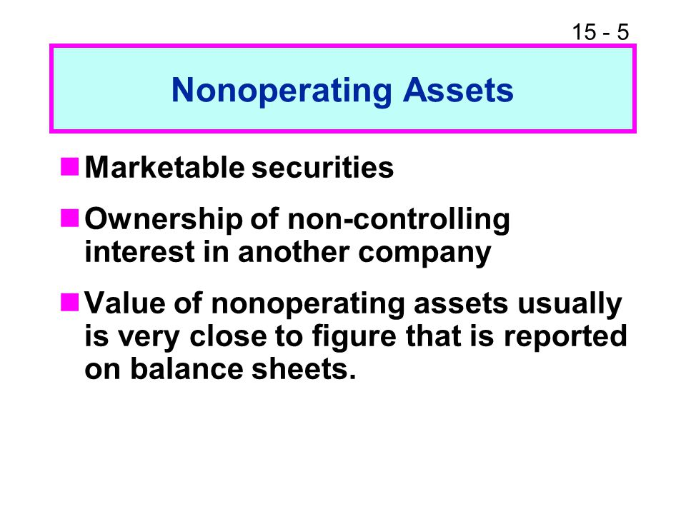 Nonoperating Assets Marketable securities