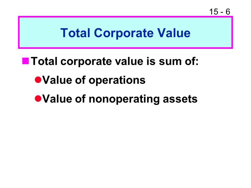 Total Corporate Value Total corporate value is sum of: