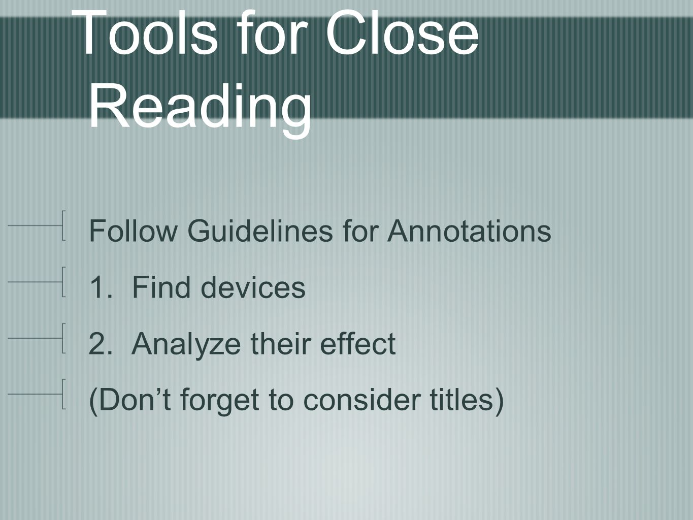 Tools for Close Reading