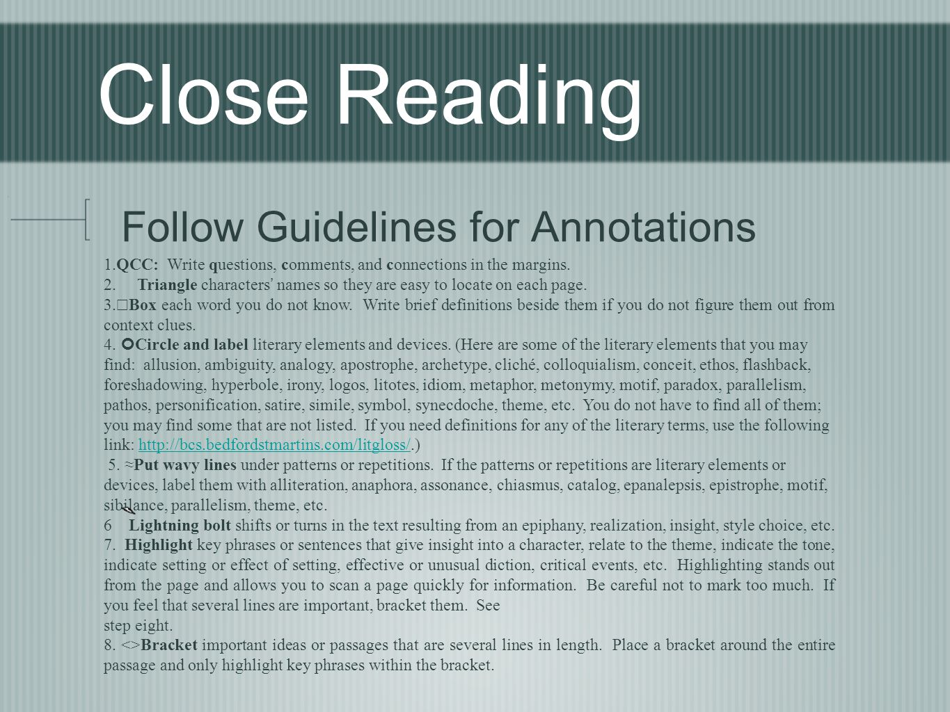Close Reading Follow Guidelines for Annotations