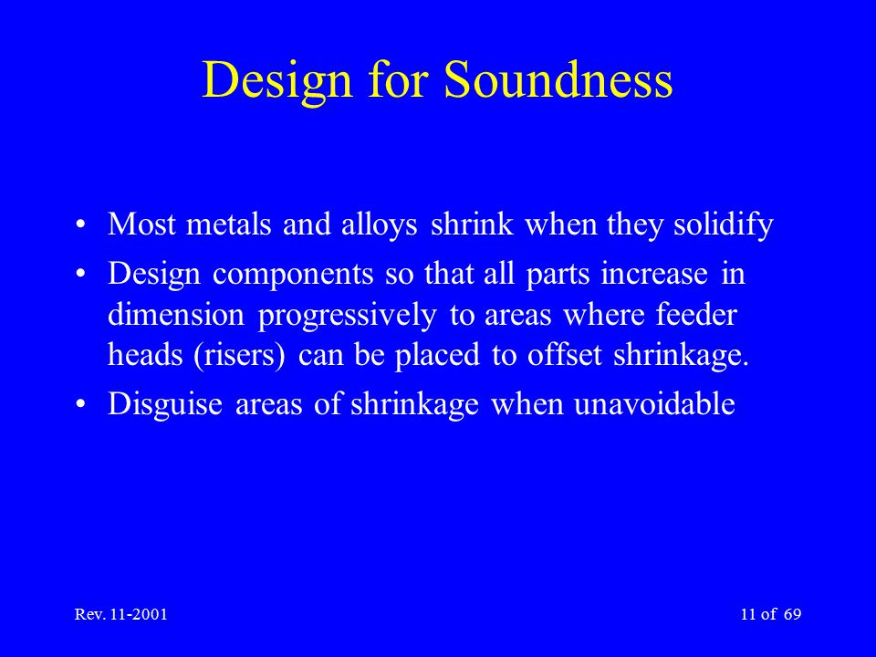 Design for Soundness Most metals and alloys shrink when they solidify
