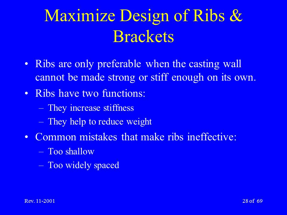Maximize Design of Ribs & Brackets