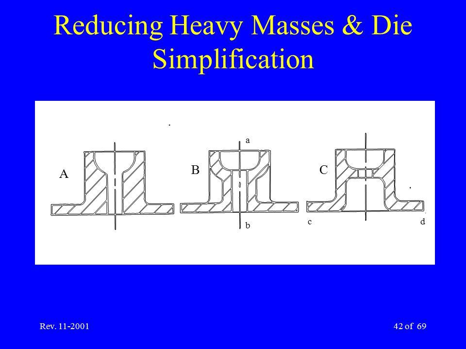 Reducing Heavy Masses & Die Simplification