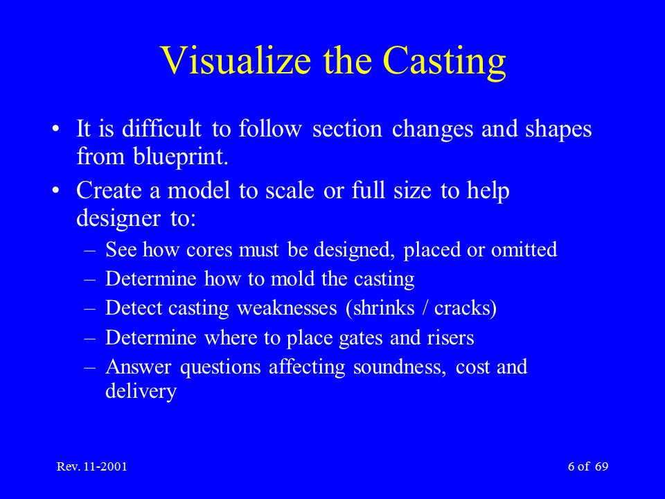 Visualize the Casting It is difficult to follow section changes and shapes from blueprint. Create a model to scale or full size to help designer to: