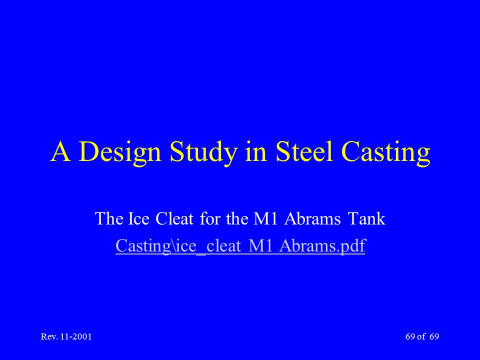 A Design Study in Steel Casting