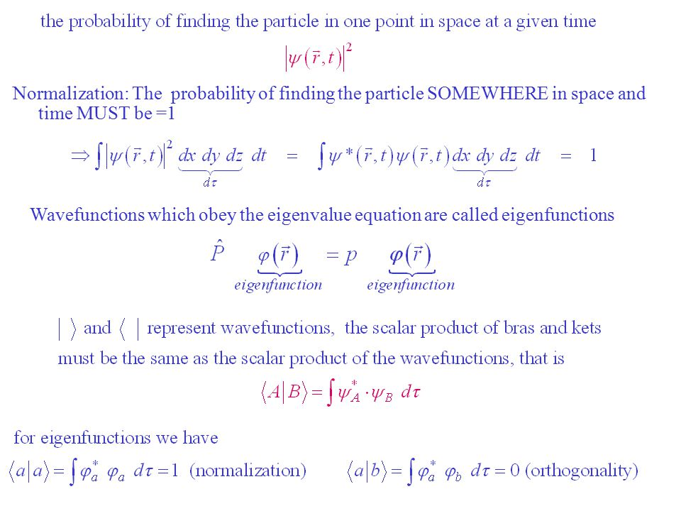 cont Normalization: The probability of finding the particle SOMEWHERE in space and time MUST be =1.