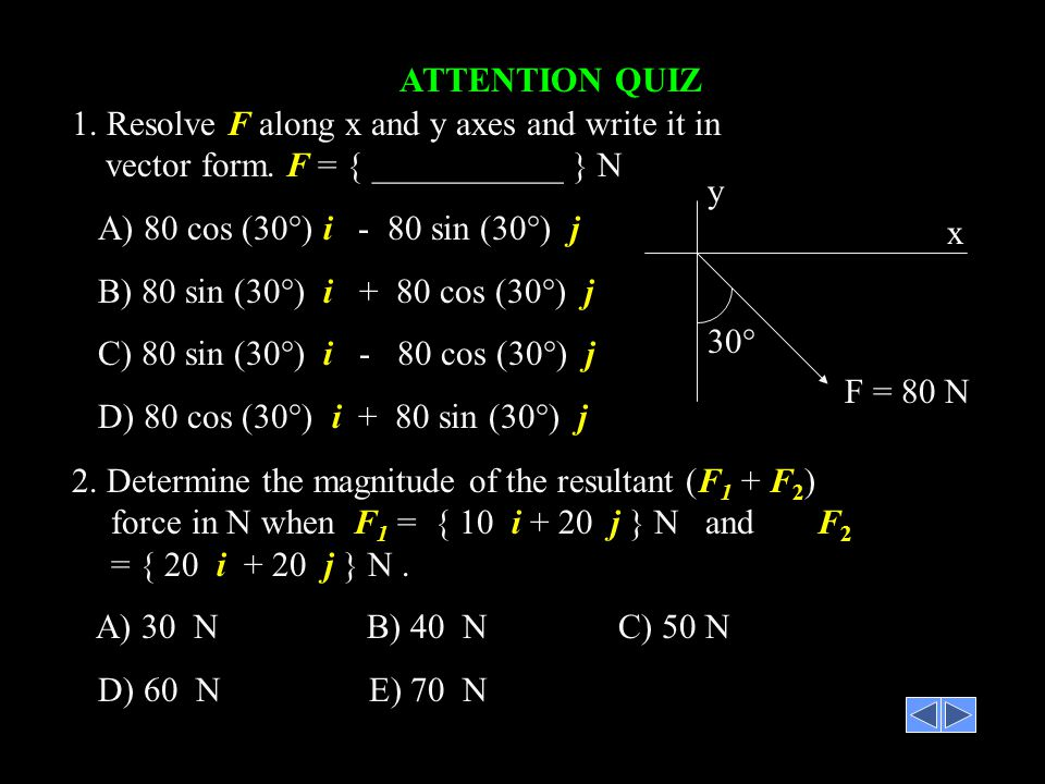ATTENTION QUIZ 1. Resolve F along x and y axes and write it in vector form. F = { ___________ } N. A) 80 cos (30°) i - 80 sin (30°) j.