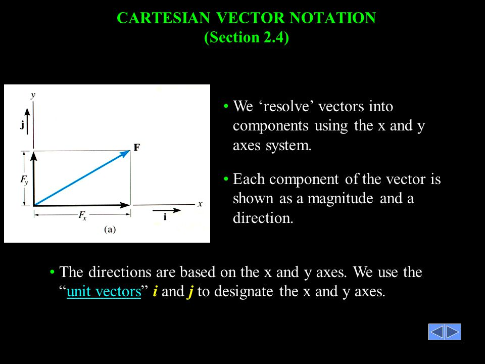 CARTESIAN VECTOR NOTATION (Section 2.4)