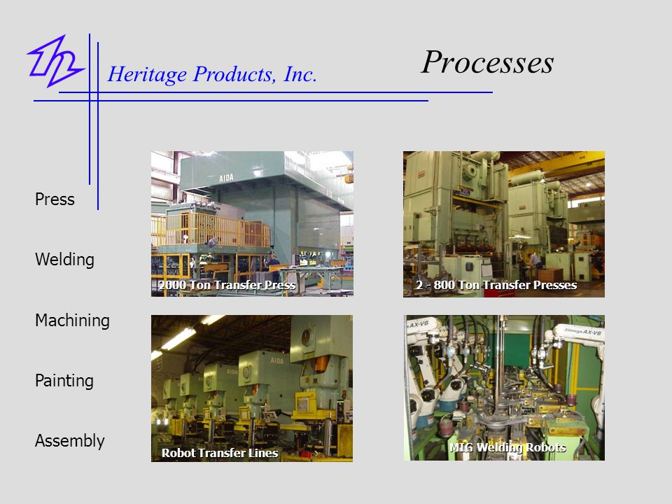 Processes Heritage Products, Inc. Press Welding Machining Painting