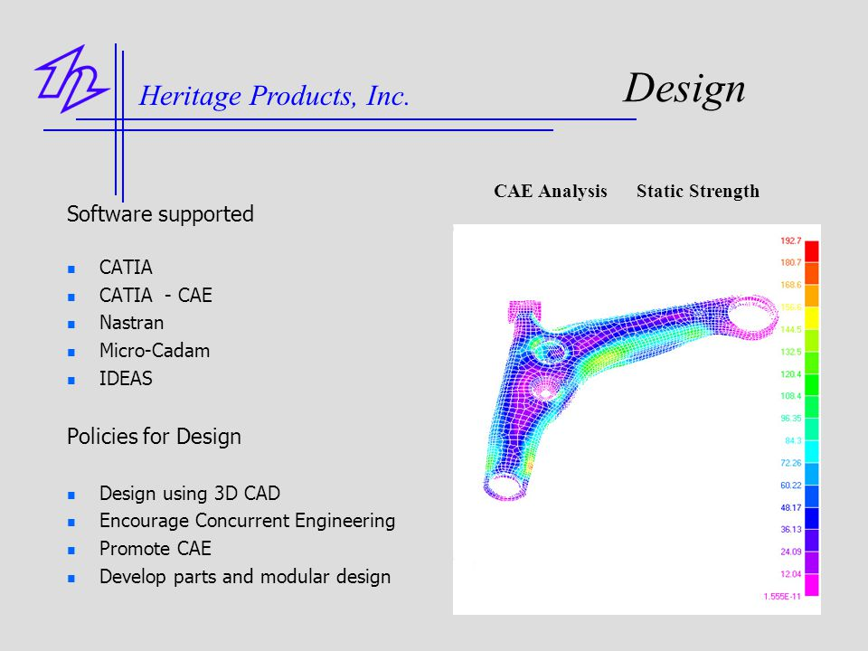 Design Heritage Products, Inc. Software supported Policies for Design