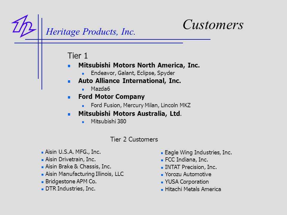 Customers Heritage Products, Inc. Tier 1