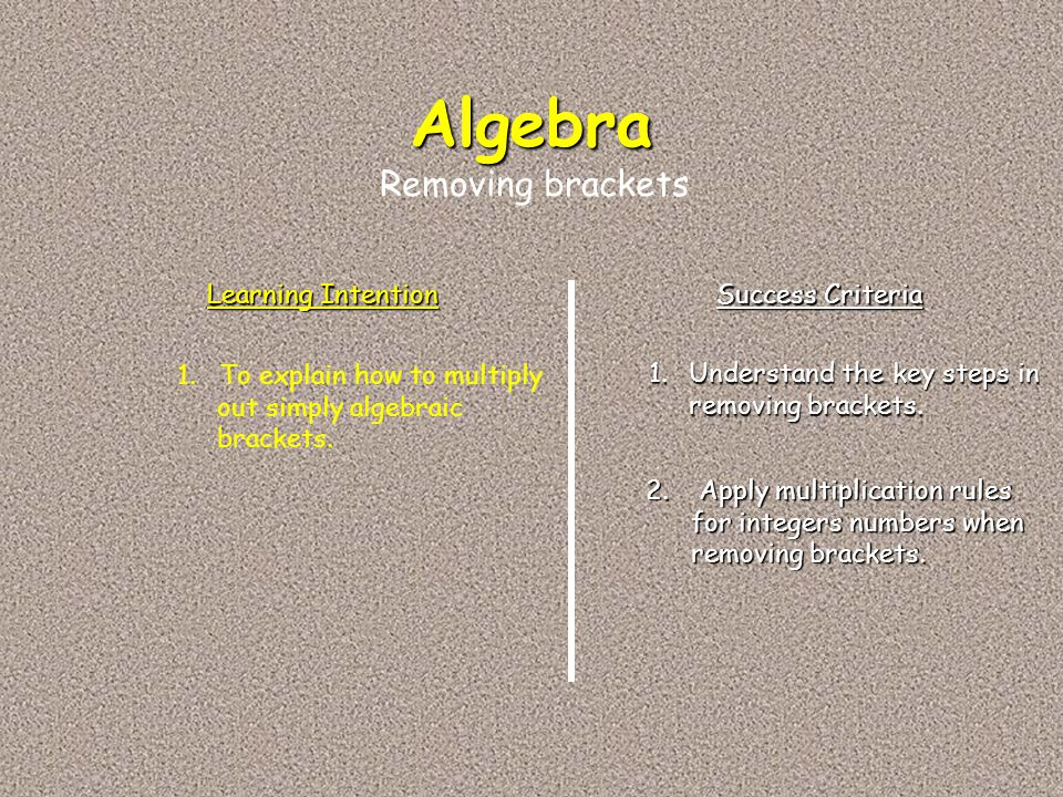 Algebra Removing brackets Learning Intention Success Criteria