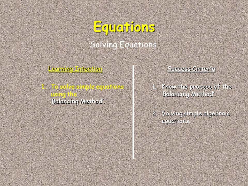 Equations Solving Equations Learning Intention Success Criteria