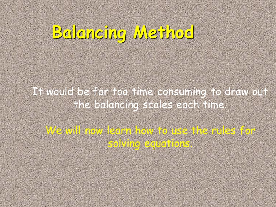Balancing Method It would be far too time consuming to draw out