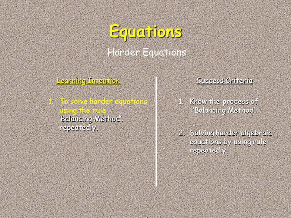 Equations Harder Equations Learning Intention Success Criteria