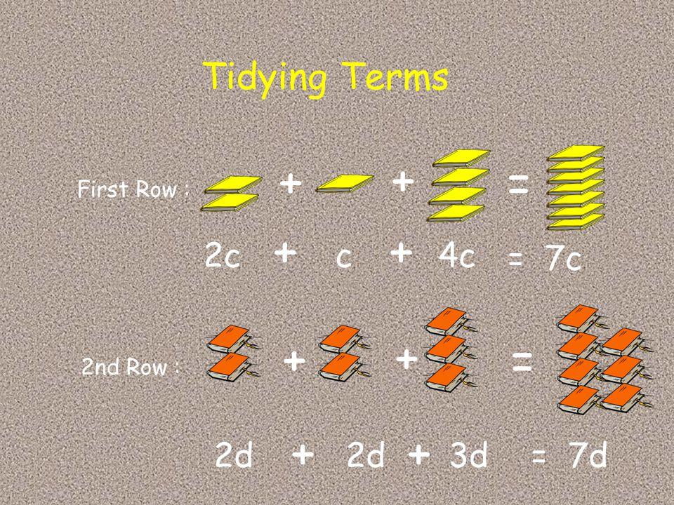 + + = + + + + = + + Tidying Terms 2c c 4c = 7c 2d 2d 3d = 7d