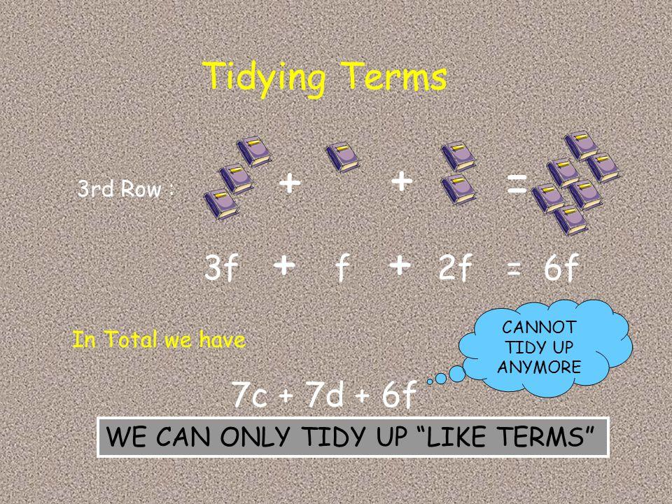 + + = + + Tidying Terms 3f f 2f = 6f 7c + 7d + 6f