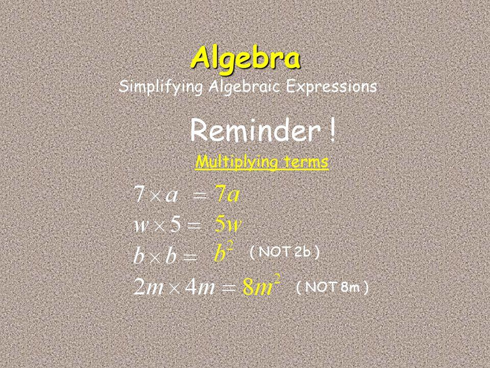 Algebra Reminder ! Simplifying Algebraic Expressions Multiplying terms