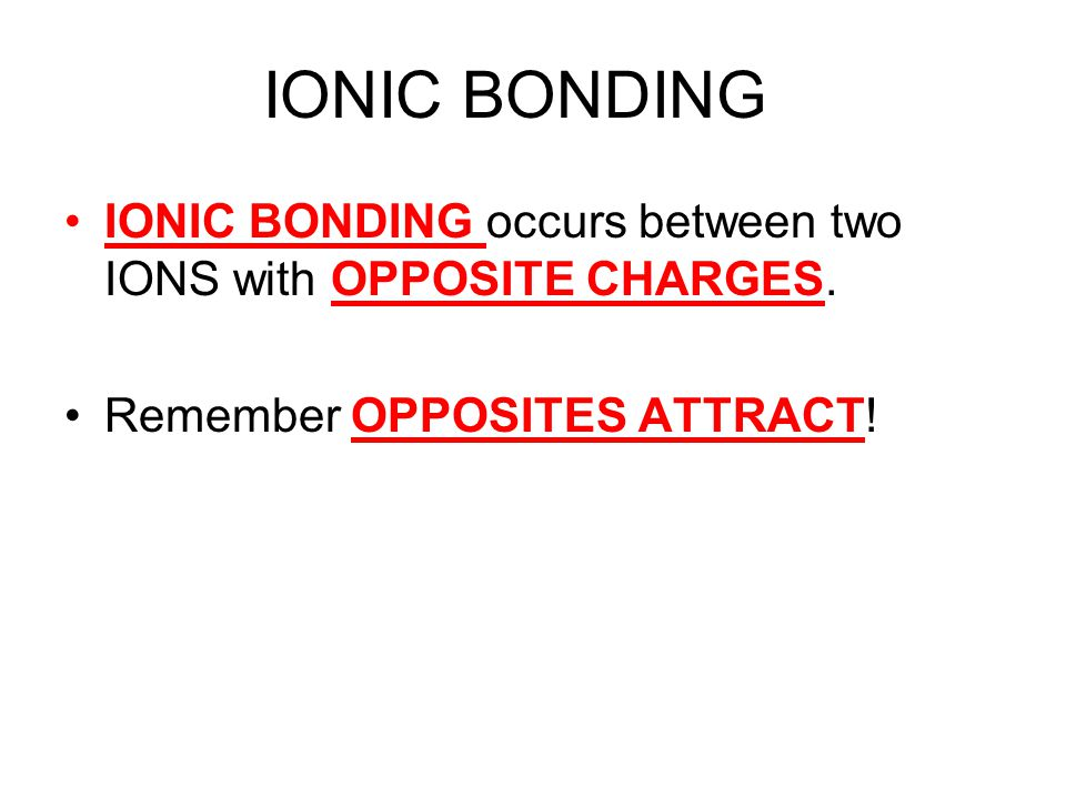 IONIC BONDING IONIC BONDING occurs between two IONS with OPPOSITE CHARGES.