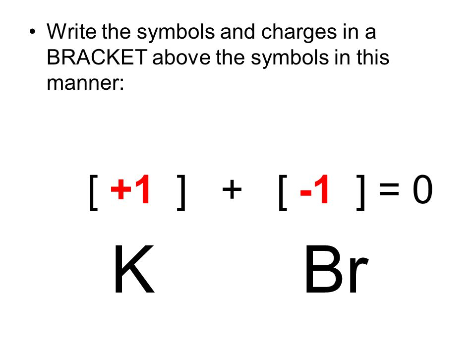 Write the symbols and charges in a BRACKET above the symbols in this manner: