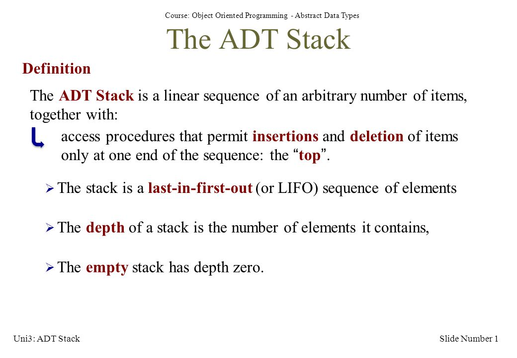 The ADT Stack Definition