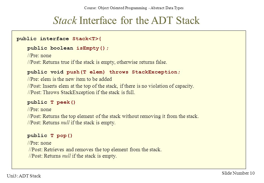 Stack Interface for the ADT Stack