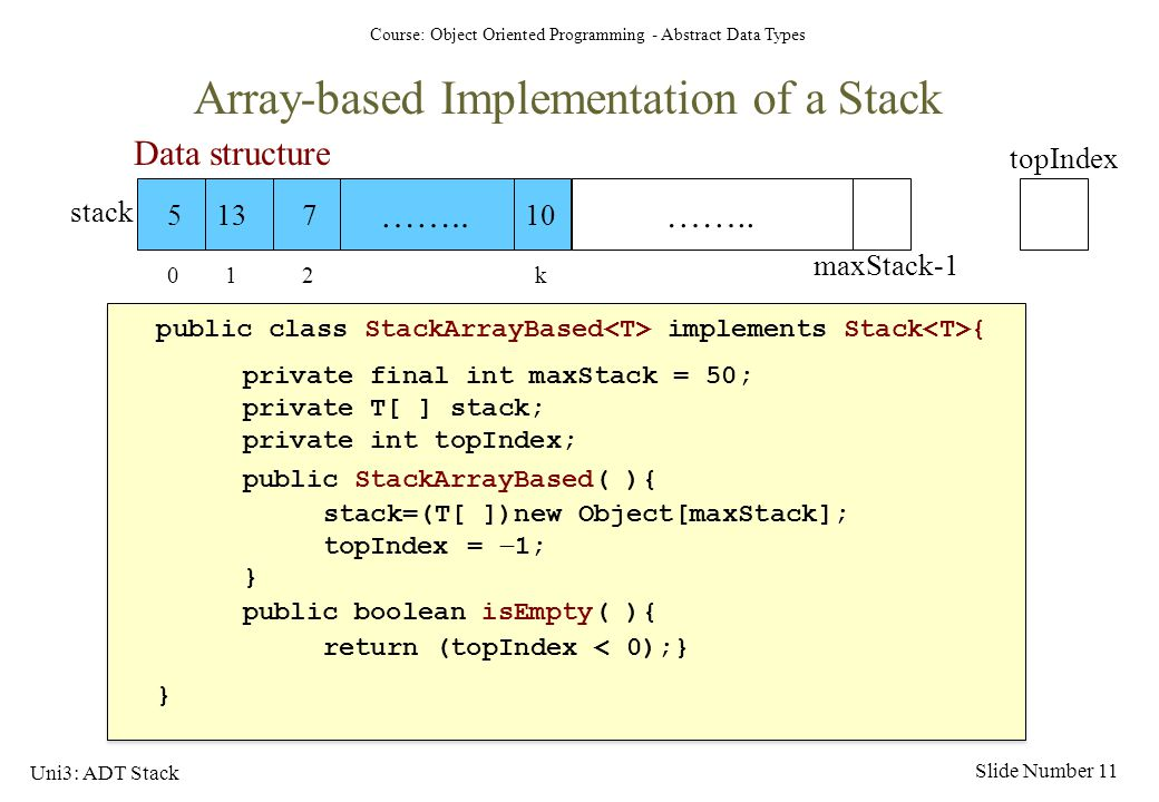 Array-based Implementation of a Stack