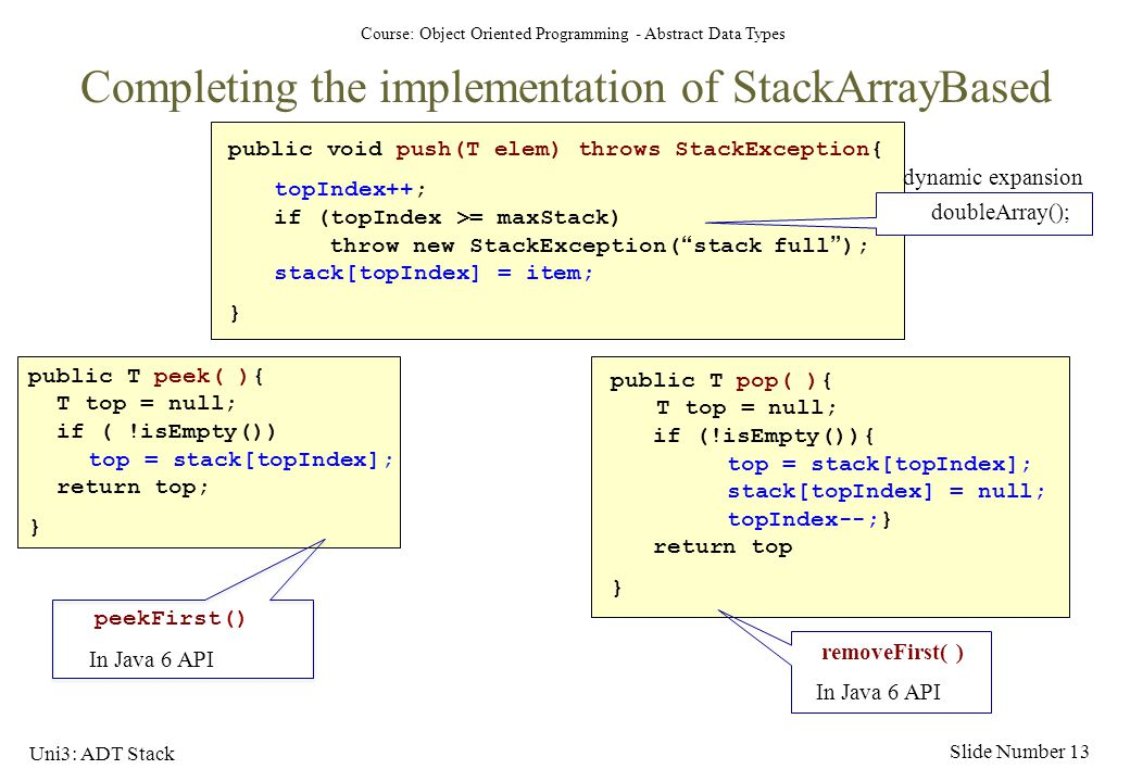Completing the implementation of StackArrayBased