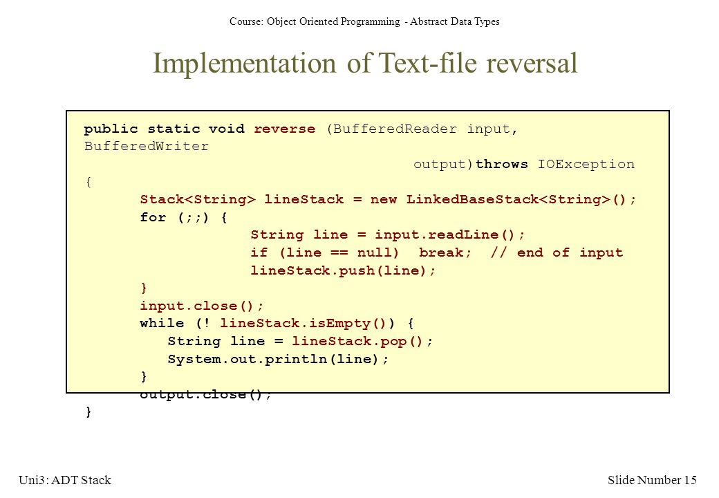 Implementation of Text-file reversal