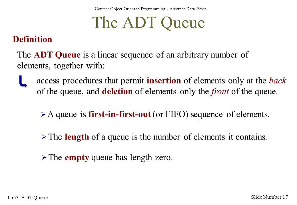 The ADT Queue Definition