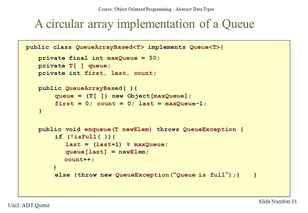 A circular array implementation of a Queue