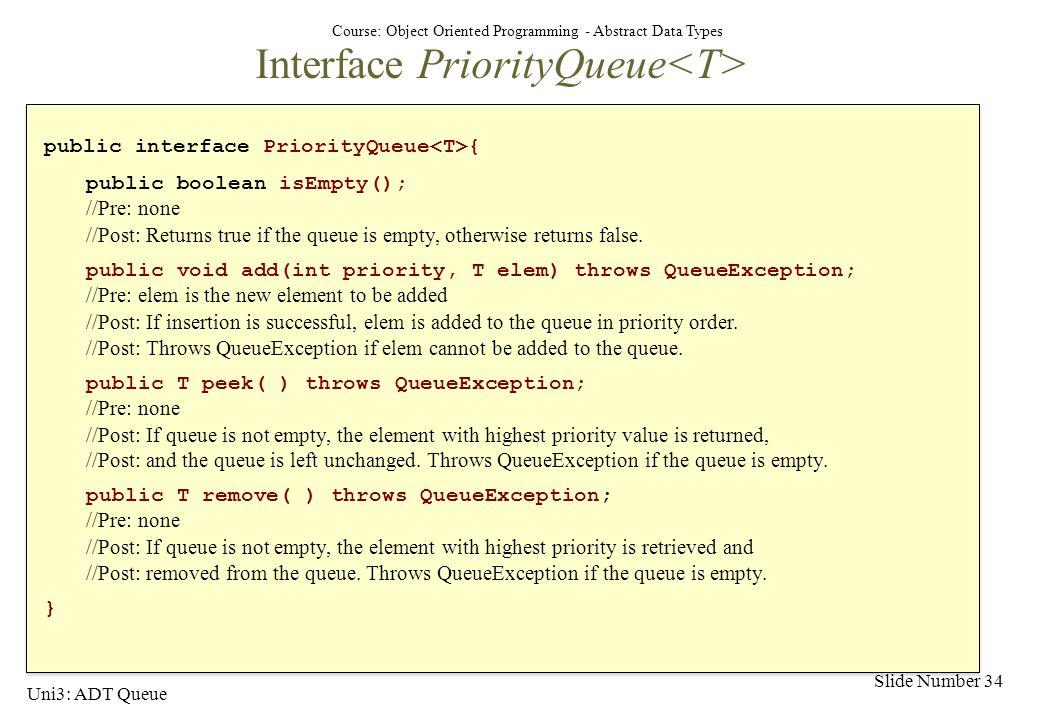 Interface PriorityQueue<T>
