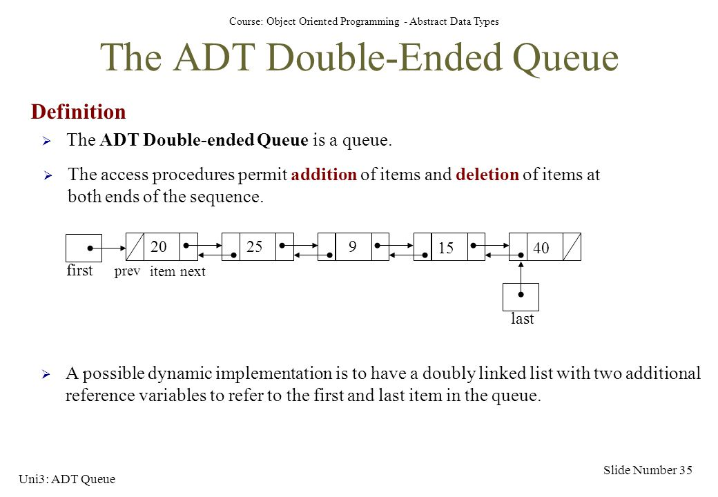 The ADT Double-Ended Queue