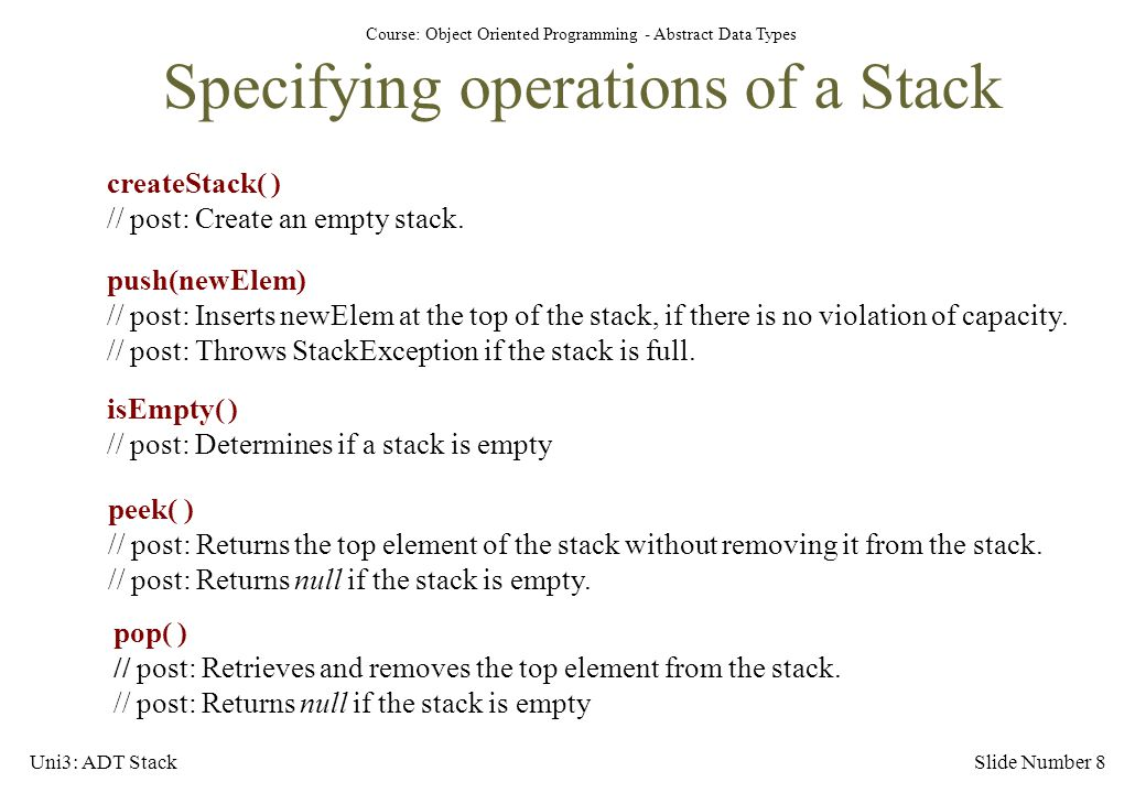 Specifying operations of a Stack