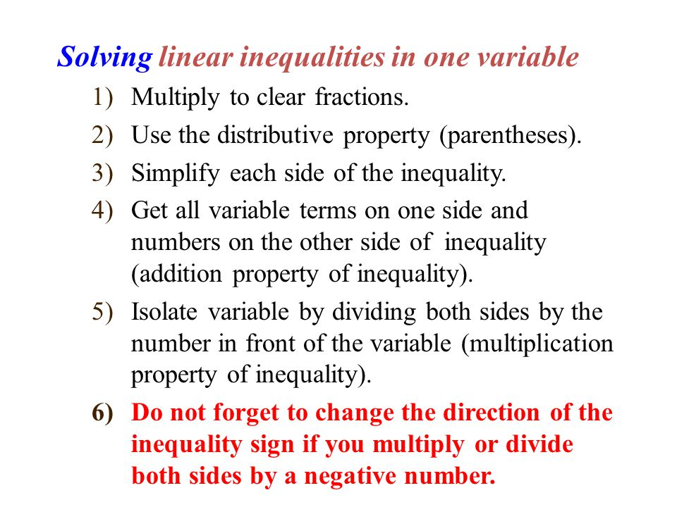 Solving linear inequalities in one variable