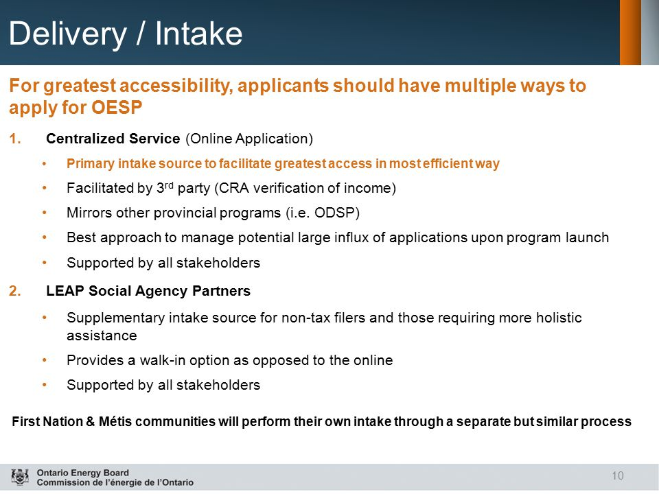 Delivery / Intake For greatest accessibility, applicants should have multiple ways to apply for OESP.