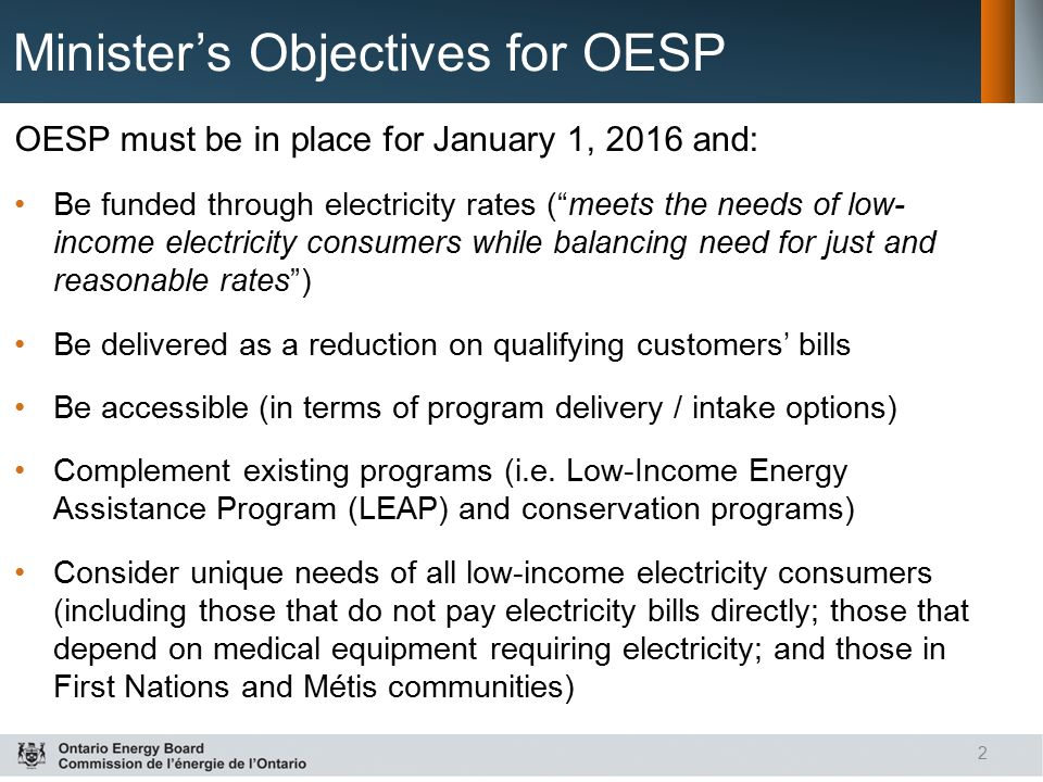 Minister's Objectives for OESP