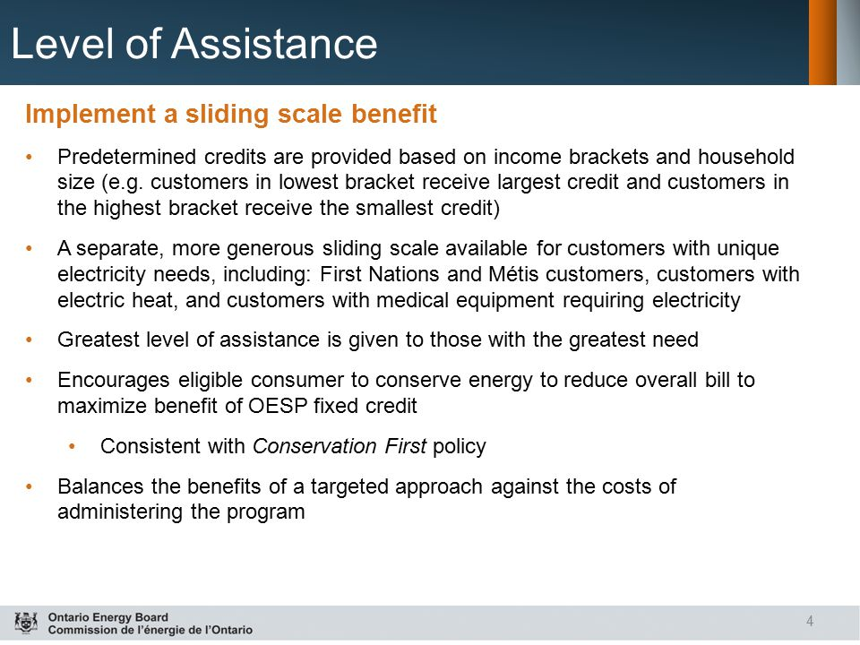 Level of Assistance Implement a sliding scale benefit