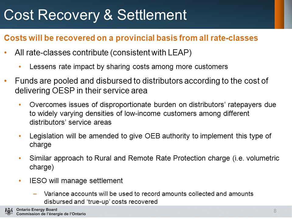 Cost Recovery & Settlement