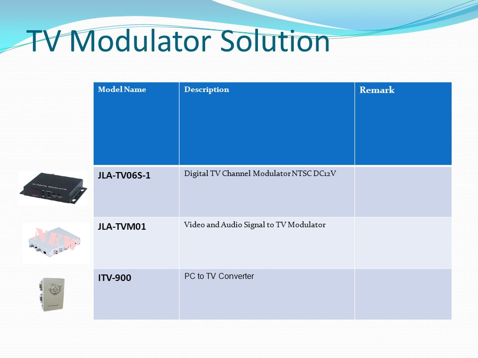 TV Modulator Solution JLA-TV06S-1 JLA-TVM01 ITV-900 Remark Model Name
