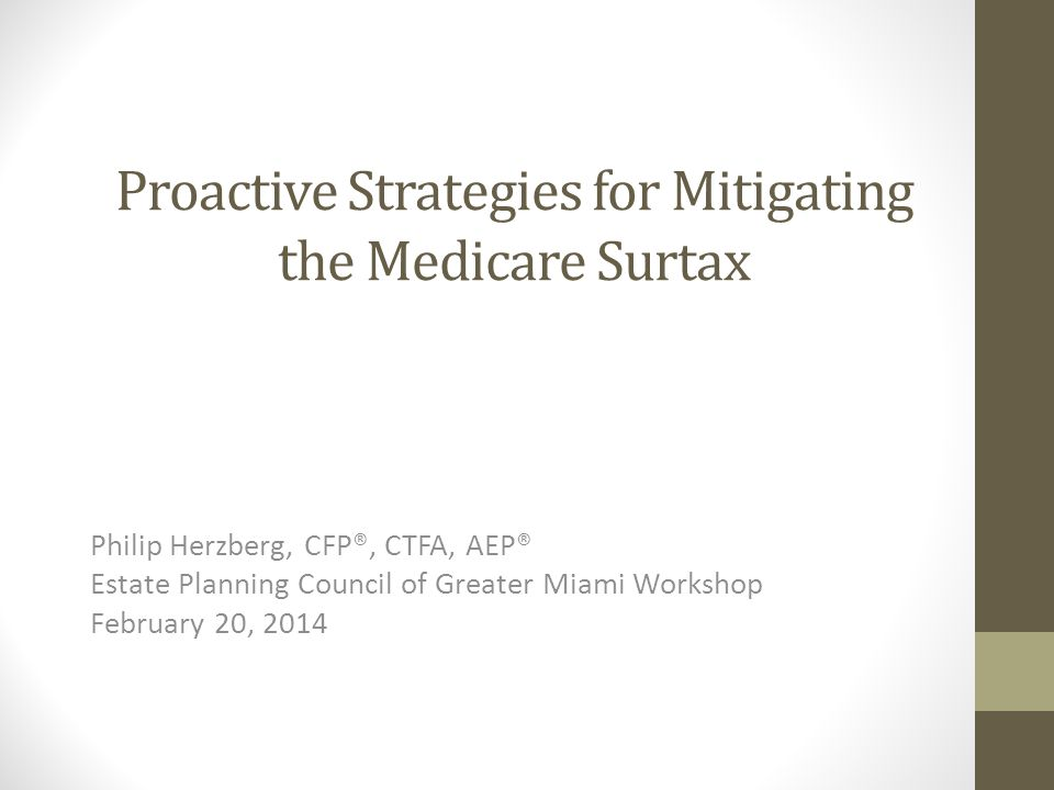 Proactive Strategies for Mitigating the Medicare Surtax