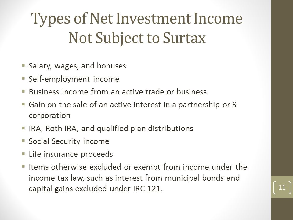 Types of Net Investment Income Not Subject to Surtax