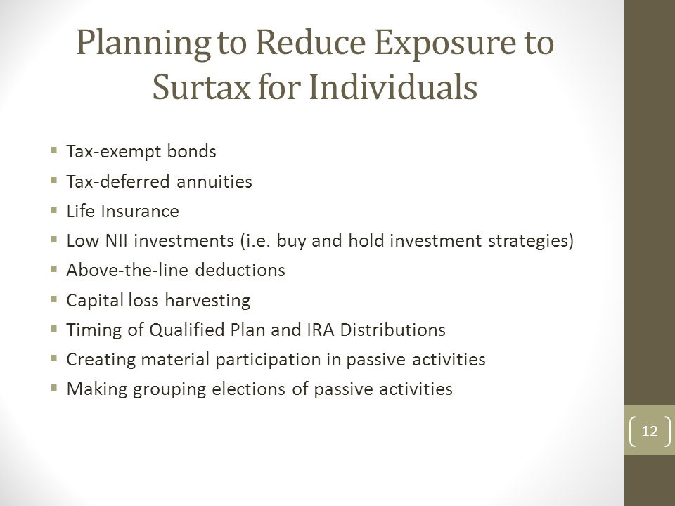 Planning to Reduce Exposure to Surtax for Individuals